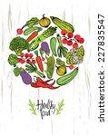 healthy food design card | Shutterstock .eps vector #227835547