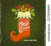 christmas stocking... | Shutterstock .eps vector #227839843