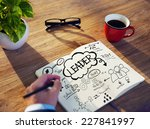 businessman sketching about... | Shutterstock . vector #227841997