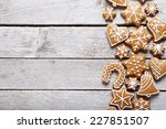 christmas gingerbread cookies... | Shutterstock . vector #227851507