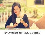 coffee. beautiful  asian girl...   Shutterstock . vector #227864863