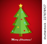 paper christmas tree on red... | Shutterstock .eps vector #227878927