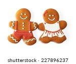 christmas gingerbread couple... | Shutterstock . vector #227896237