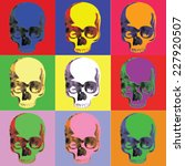 pop art skulls | Shutterstock .eps vector #227920507