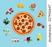 pizza flat style vector... | Shutterstock .eps vector #227942647