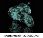 blue motorcycle. 3d wire model | Shutterstock . vector #228002293