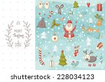 christmas doodle set with santa ... | Shutterstock .eps vector #228034123