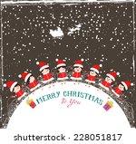 christmas kids background... | Shutterstock . vector #228051817
