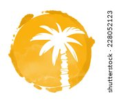 watercolor orange circle paint ... | Shutterstock .eps vector #228052123