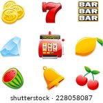casino slot machine icons  with ... | Shutterstock .eps vector #228058087
