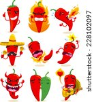 nine different chili pepper in... | Shutterstock .eps vector #228102097