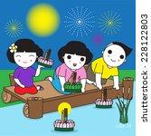 thai loy krathong festival... | Shutterstock .eps vector #228122803