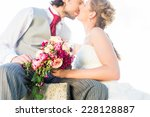 bridal pair kissing on field... | Shutterstock . vector #228128887
