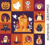 halloween symbols collection... | Shutterstock .eps vector #228144913