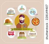 llustration. italy rome man... | Shutterstock .eps vector #228149407