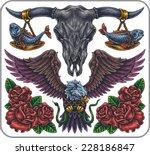 hand drawn set of old school...   Shutterstock .eps vector #228186847
