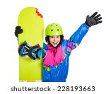 happy girl with snowboard and... | Shutterstock . vector #228193663