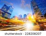 traffic light trails of modern... | Shutterstock . vector #228208207