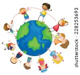 kids playing around the earth | Shutterstock .eps vector #228253693