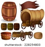 western theme with wagons and... | Shutterstock .eps vector #228254803