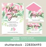 vector set of invitation cards... | Shutterstock .eps vector #228306493