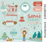 vintage merry christmas and... | Shutterstock .eps vector #228308743