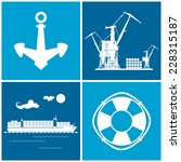 Set Of Maritime Icons For Web...