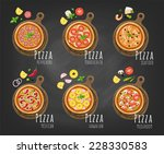 pizza on the board and the... | Shutterstock .eps vector #228330583