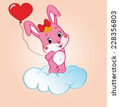 pink bunny on the cloud with... | Shutterstock .eps vector #228356803