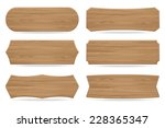 set of 6 shapes wooden sign... | Shutterstock .eps vector #228365347