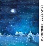 Vector Watercolor Winter Night...