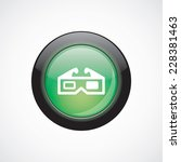 3d movie glass sign icon green...