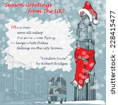 Design of the Christmas greeting card with Big Ben in a red scarf and hat and with a lyrics of