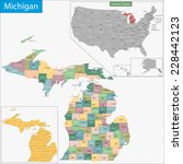 map of michigan state designed... | Shutterstock .eps vector #228442123