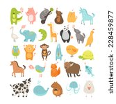 cute animals collection. vector ... | Shutterstock .eps vector #228459877