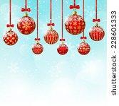 christmas balls on blue sky... | Shutterstock .eps vector #228601333