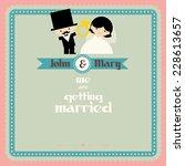 wedding couple cartoon card... | Shutterstock .eps vector #228613657