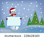 happy snowman holding a banner | Shutterstock .eps vector #228628183