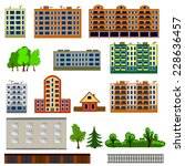city houses set. colorful  flat ... | Shutterstock .eps vector #228636457