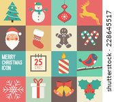 merry christmas icon set.... | Shutterstock .eps vector #228645517