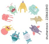 Vector Cute Monsters Circle...