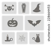 set of monochrome icons with... | Shutterstock .eps vector #228664453