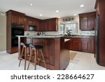 kitchen with cherry wood... | Shutterstock . vector #228664627