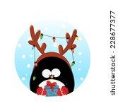 reindeer penguin card   Shutterstock .eps vector #228677377