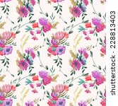 pattern  watercolor  bouquet   Shutterstock .eps vector #228813403