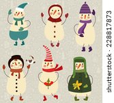six cute funny snowmans.... | Shutterstock .eps vector #228817873