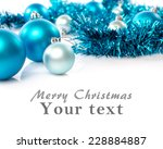 christmas card with blue balls... | Shutterstock . vector #228884887