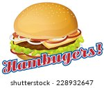 hamburgers sticker label on...
