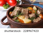 beef stew with vegetables in a...   Shutterstock . vector #228967423