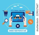 lovely car on the tablet screen.... | Shutterstock .eps vector #229017667